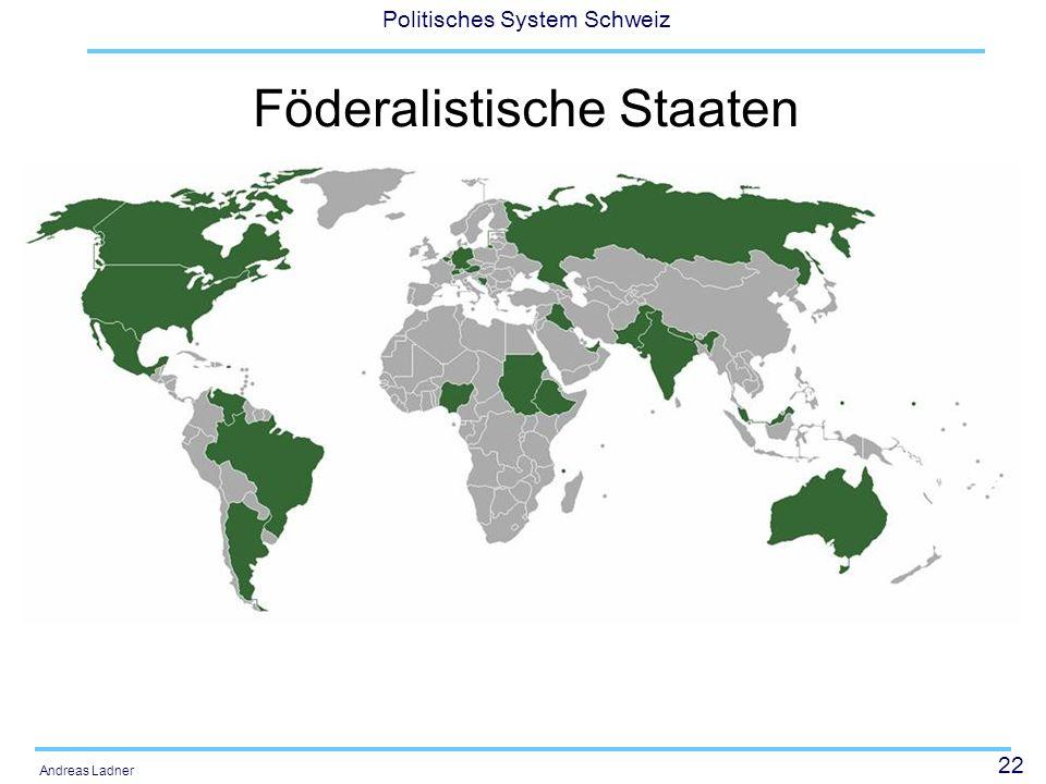 22 Politisches System Schweiz Andreas Ladner Föderalistische Staaten
