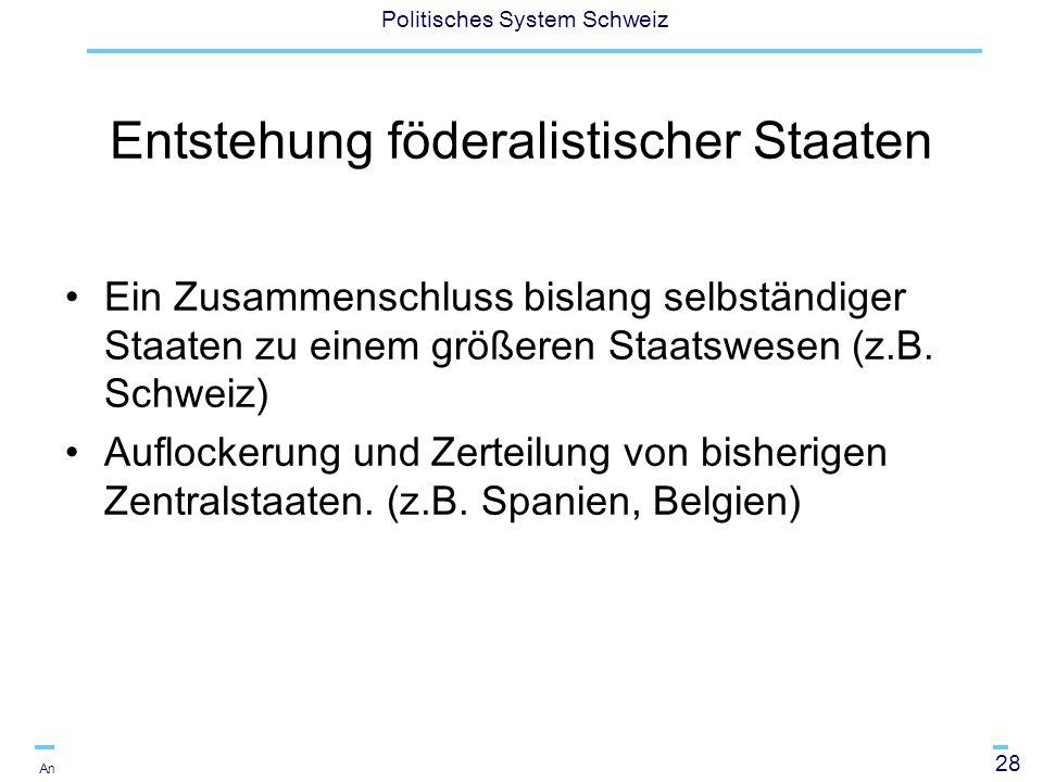 28 Politisches System Schweiz Andreas Ladner Entstehung föderalistischer Staaten Ein Zusammenschluss bislang selbständiger Staaten zu einem größeren S