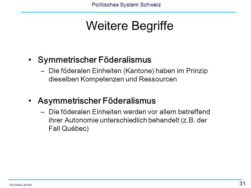32 Politisches System Schweiz Andreas Ladner und Konzepte Kooperativer Föderalismus –Verschiedene Ebenen arbeiten zusammen, um gewisse Aufgaben zu erfüllen Dualer Föderalismus –Klare Kompetenzabgrenzung zwischen den beiden/verschiedenen Ebenen (Zweipolare Verfassungsordnung) Konkurrenzieller Föderalismus –Die föderalen Einheiten stehen zueinander in Konkurrenz zum Wohle der Bürgerinnen und Bürger (exit) Solidarischer Föderalismus –Ausgleich der Bedingungen unter den verschiedenen föderalen Einheiten mit Finanzausgleich, Zusammenarbeit usw.