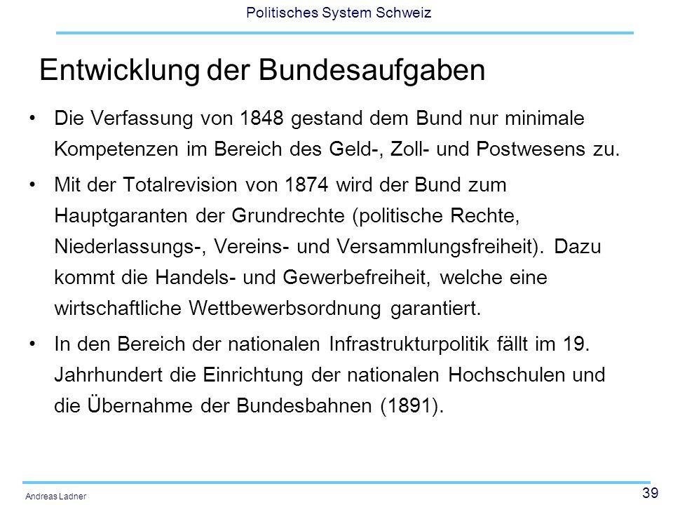 40 Politisches System Schweiz Andreas Ladner Kompetenzverschiebungen zugunsten des Bundes Sozialversicherung –Kranken- und Unfallversicherung (1890) –Alters- und Invalidenversicherung (1890) –Mutterschaftsversicherung (1945) –Arbeitslosenversicherung (1945/1947) Raumordnung und Umweltschutz –Forstwesen (1897) –Gewässerschutz und Wassernutzung (1908/1953/1975) –Raumplanung (1969) –Umweltschutz (1971)