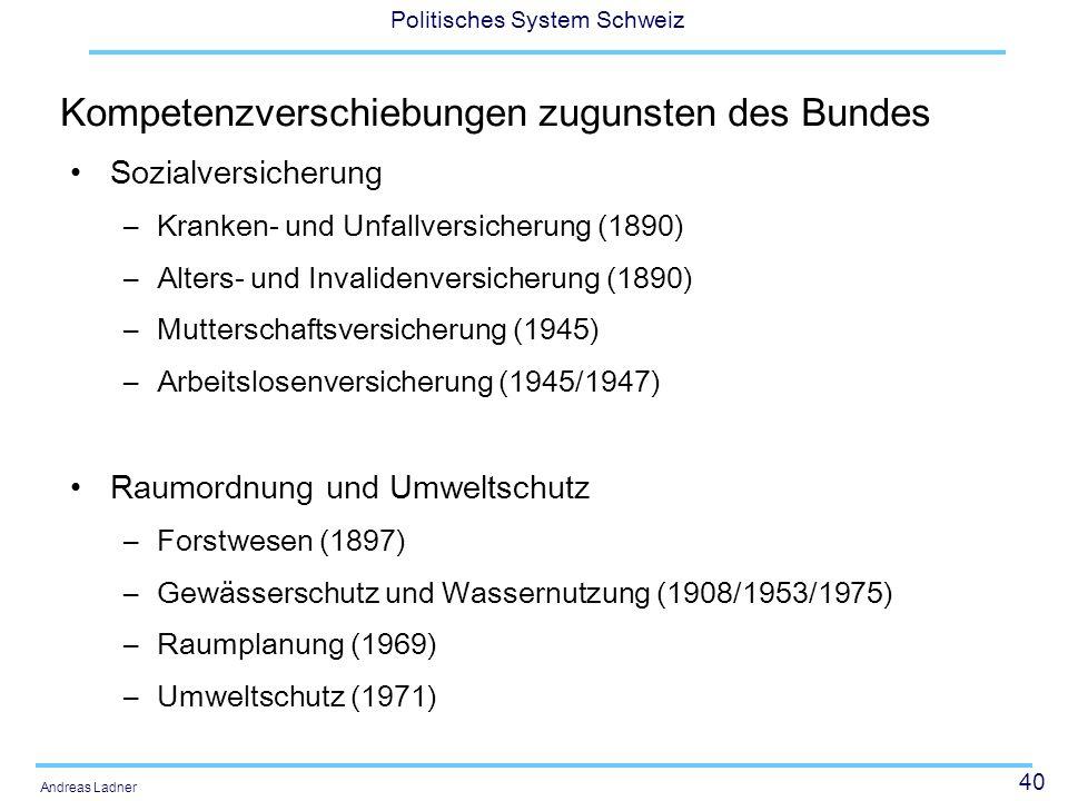 41 Politisches System Schweiz Andreas Ladner Verkehrswesen –Bundesbahnen (1891) –Schifffahrt (1919) –Automobilverkehr (1921) –Nationalstrassenbau (1958) –Bau der Alpentransversale (1992) Energiepolitik –Wasserkraft (1914) –Rohrleitungen (1961) –Atomkraft (1958) –Energiepolitik (1990)