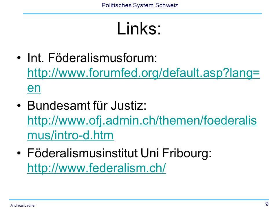 10 Politisches System Schweiz Andreas Ladner 1.Föderalismus: Theoretische Vorstellung und ein internationaler Vergleich