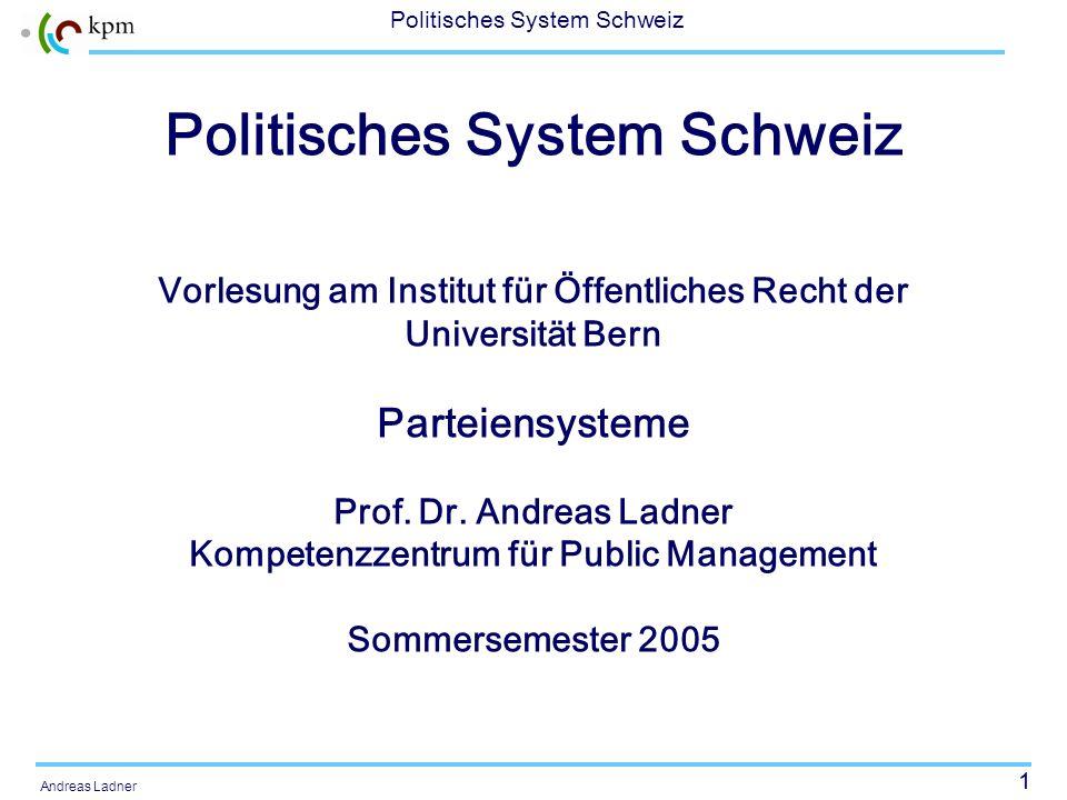 1 Politisches System Schweiz Andreas Ladner Politisches System Schweiz Vorlesung am Institut für Öffentliches Recht der Universität Bern Parteiensyste