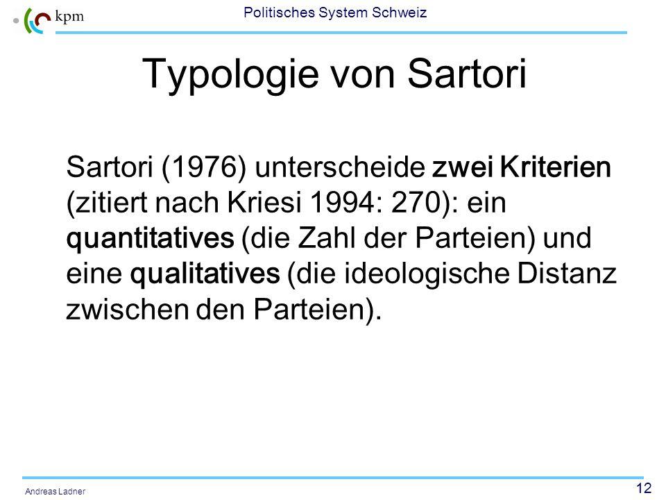 12 Politisches System Schweiz Andreas Ladner Typologie von Sartori Sartori (1976) unterscheide zwei Kriterien (zitiert nach Kriesi 1994: 270): ein qua