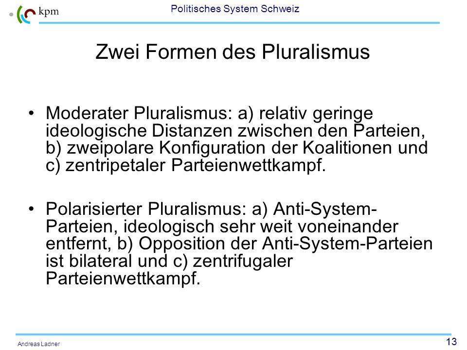 13 Politisches System Schweiz Andreas Ladner Zwei Formen des Pluralismus Moderater Pluralismus: a) relativ geringe ideologische Distanzen zwischen den