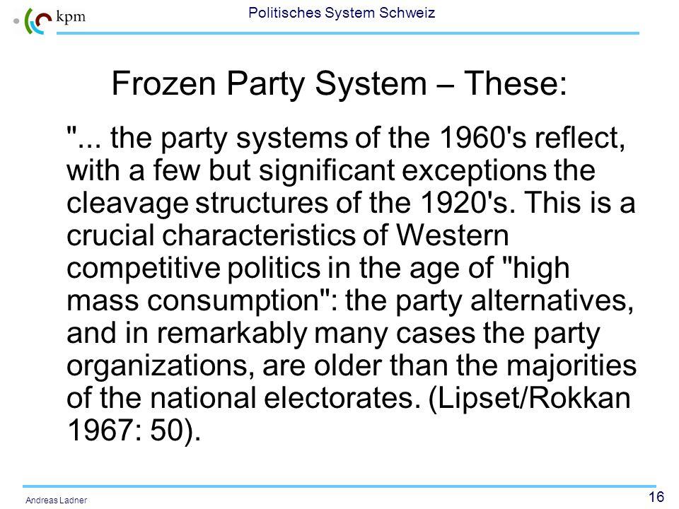 16 Politisches System Schweiz Andreas Ladner Frozen Party System – These: