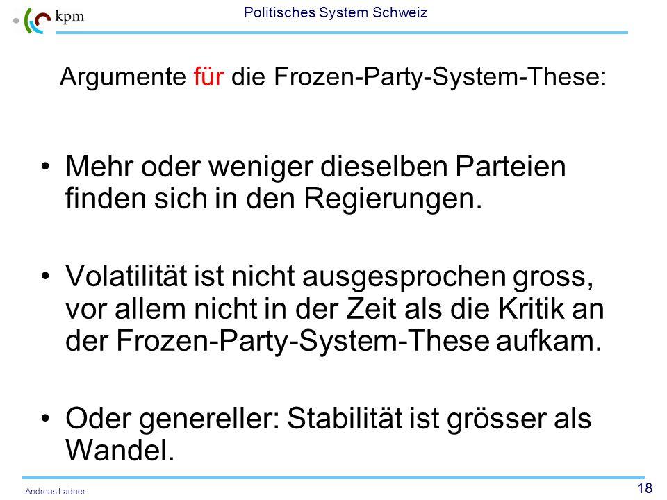 18 Politisches System Schweiz Andreas Ladner Argumente für die Frozen-Party-System-These: Mehr oder weniger dieselben Parteien finden sich in den Regi