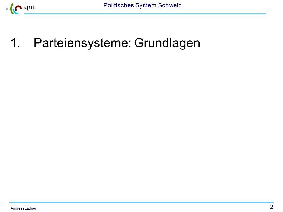 2 Politisches System Schweiz Andreas Ladner 1.Parteiensysteme: Grundlagen