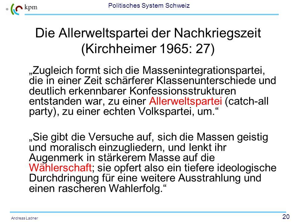 20 Politisches System Schweiz Andreas Ladner Die Allerweltspartei der Nachkriegszeit (Kirchheimer 1965: 27) Zugleich formt sich die Massenintegrations