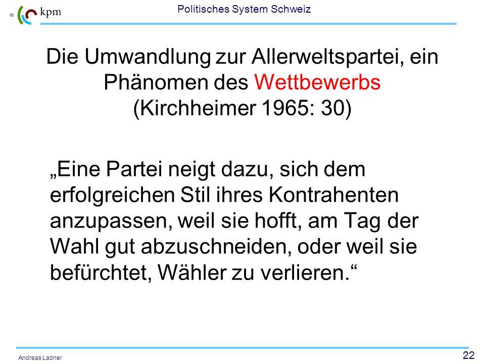 22 Politisches System Schweiz Andreas Ladner Die Umwandlung zur Allerweltspartei, ein Phänomen des Wettbewerbs (Kirchheimer 1965: 30) Eine Partei neig