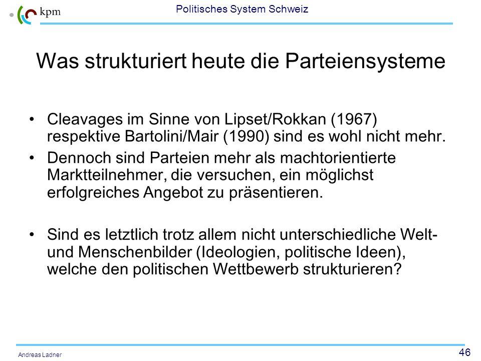 46 Politisches System Schweiz Andreas Ladner Was strukturiert heute die Parteiensysteme Cleavages im Sinne von Lipset/Rokkan (1967) respektive Bartoli