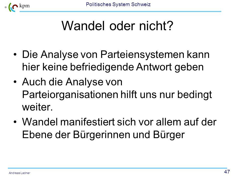 47 Politisches System Schweiz Andreas Ladner Wandel oder nicht? Die Analyse von Parteiensystemen kann hier keine befriedigende Antwort geben Auch die