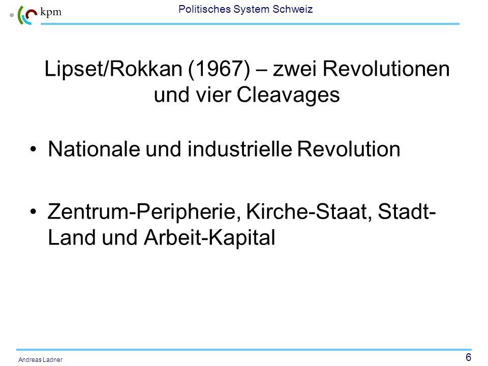 6 Politisches System Schweiz Andreas Ladner Lipset/Rokkan (1967) – zwei Revolutionen und vier Cleavages Nationale und industrielle Revolution Zentrum-