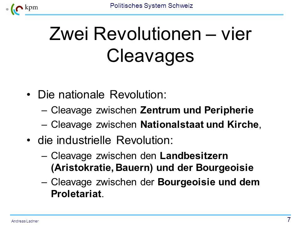 7 Politisches System Schweiz Andreas Ladner Zwei Revolutionen – vier Cleavages Die nationale Revolution: –Cleavage zwischen Zentrum und Peripherie –Cl