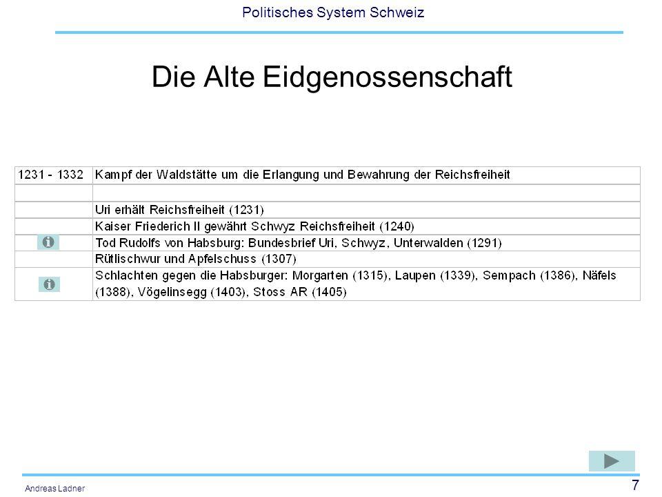38 Politisches System Schweiz Andreas Ladner Ein weitere Schritt Richtung Nationalstaat (1891) Industrialisierung und aufkommender Nationalismus in den geeinten Nachbarländern Deutschland und Italien verstärkten den Prozess der Nationwerdung gegen Ende des 19.