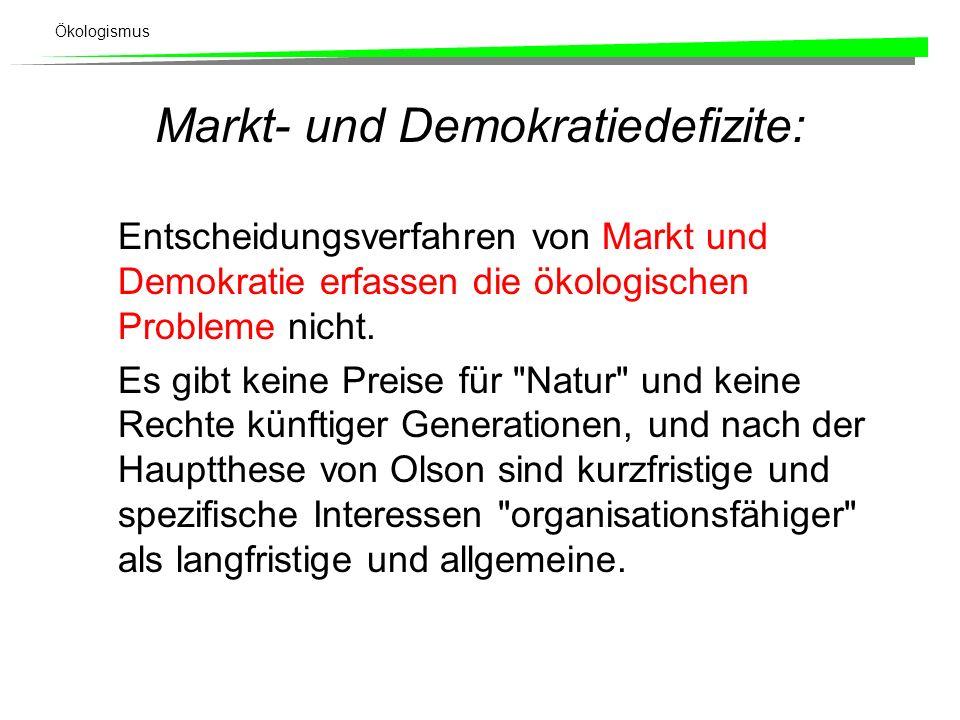 Ökologismus Markt- und Demokratiedefizite: Entscheidungsverfahren von Markt und Demokratie erfassen die ökologischen Probleme nicht.