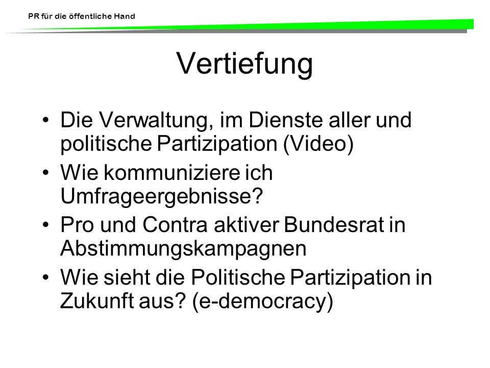 PR für die öffentliche Hand Contra-Argumente (5) Einige befürchten auch, dass ein solches Prinzip die öffentlichen Interessen gefährden könnte, wie beispielsweise die innere oder äussere Sicherheit der Schweiz, die internationalen Beziehungen der Schweiz, die Beziehungen zwischen dem Bund und den Kantonen oder zwischen Kantonen sowie die Geld- und Währungspolitik.