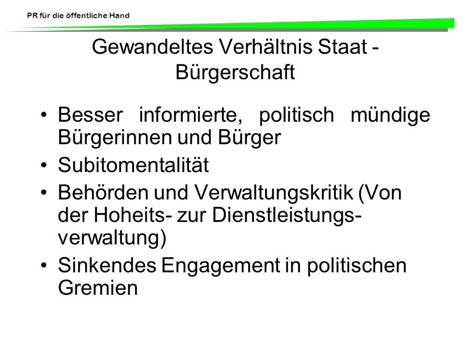 PR für die öffentliche Hand Charakteristische Merkmale von PR für den Staat Akteure Gegenstandsbereich Zwischen Information und Propaganda Spezifisch schweizerische Voraussetzungen