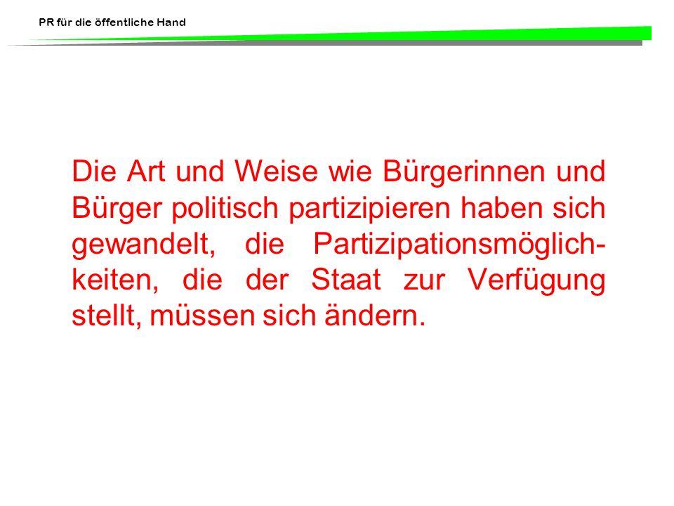 PR für die öffentliche Hand Literaturhinweis: Jarren, Otfried, Ulrich Sarcinelli und Ulrich Saxer (Hrsg.) 1998.