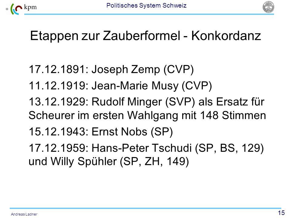 15 Politisches System Schweiz Andreas Ladner Etappen zur Zauberformel - Konkordanz 17.12.1891: Joseph Zemp (CVP) 11.12.1919: Jean-Marie Musy (CVP) 13.12.1929: Rudolf Minger (SVP) als Ersatz für Scheurer im ersten Wahlgang mit 148 Stimmen 15.12.1943: Ernst Nobs (SP) 17.12.1959: Hans-Peter Tschudi (SP, BS, 129) und Willy Spühler (SP, ZH, 149)