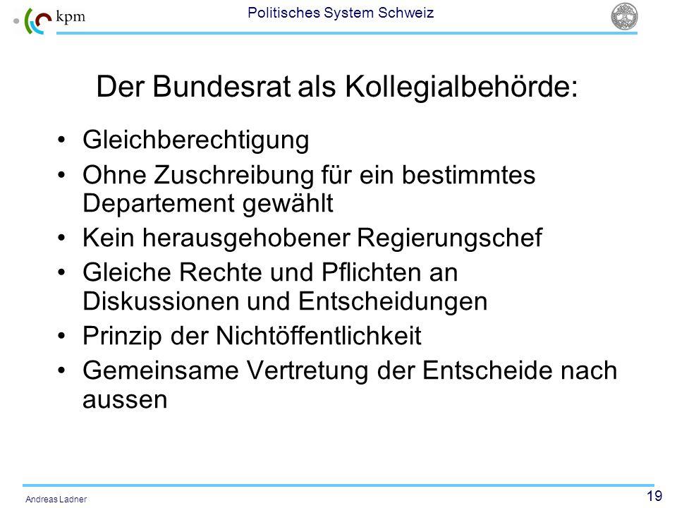 19 Politisches System Schweiz Andreas Ladner Der Bundesrat als Kollegialbehörde: Gleichberechtigung Ohne Zuschreibung für ein bestimmtes Departement g