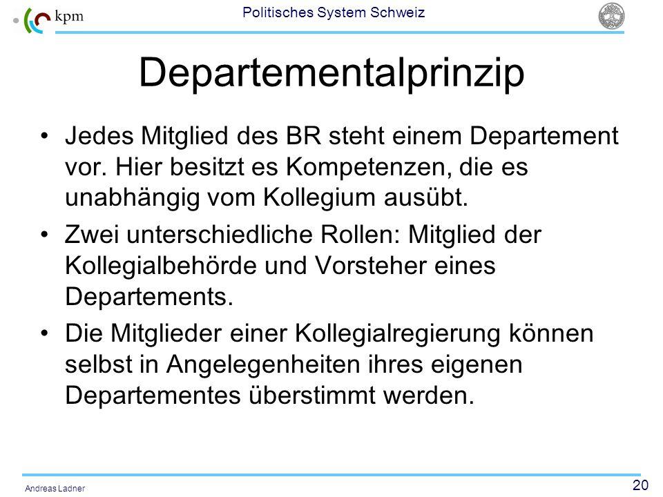 20 Politisches System Schweiz Andreas Ladner Departementalprinzip Jedes Mitglied des BR steht einem Departement vor. Hier besitzt es Kompetenzen, die