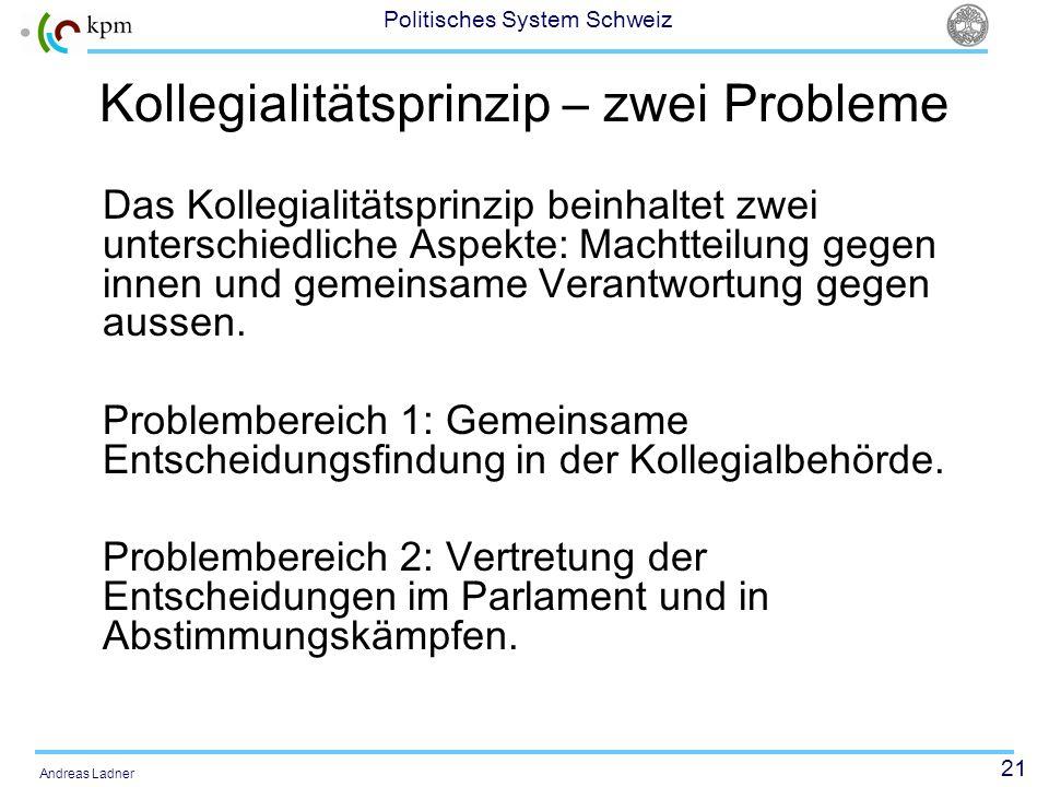21 Politisches System Schweiz Andreas Ladner Kollegialitätsprinzip – zwei Probleme Das Kollegialitätsprinzip beinhaltet zwei unterschiedliche Aspekte: Machtteilung gegen innen und gemeinsame Verantwortung gegen aussen.