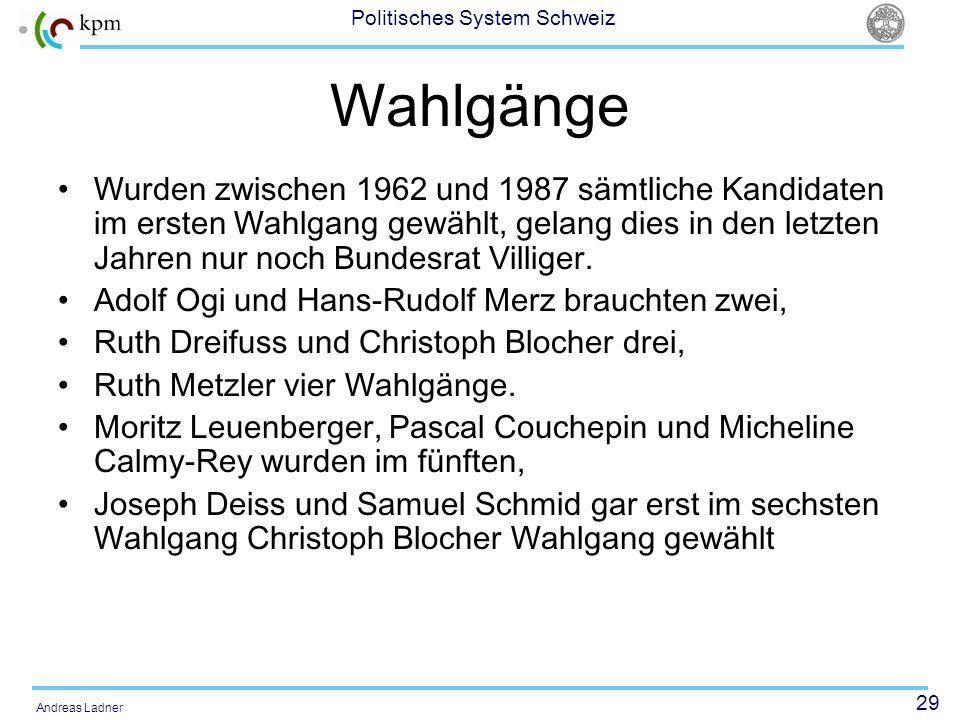 29 Politisches System Schweiz Andreas Ladner Wahlgänge Wurden zwischen 1962 und 1987 sämtliche Kandidaten im ersten Wahlgang gewählt, gelang dies in den letzten Jahren nur noch Bundesrat Villiger.