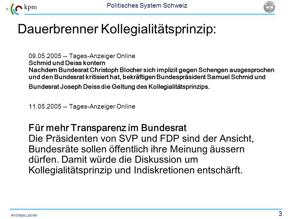 44 Politisches System Schweiz Andreas Ladner Typen von kantonalen Regierungen in den 1980er und 1990er Jahren Regierungen mit Hegemonialpartei (AI, AR, FR, bis 1981, LU, JU seit 1993, NW, OW, SZ, UR, VS, ZG bis 1982) Grosse Regierungskoalition (AG, BE ausser 1986-1990, BL, BS, FR seit 1981, GE bis 1993, GL, GR, JU bis 1993, NE ausser 1989-1993, SG, SO, SH, TG, TI, VD ausser 1996-1998, ZG seit 1982, ZH) Kleine Regierungskoalition (GE 1993-1997) Regierung ohne Parlamentsmehrheit (BE 1986-1990, NE 1989-1993, VD 1996-1998, GE 1997-2000) Vgl.