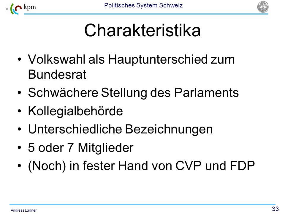 33 Politisches System Schweiz Andreas Ladner Charakteristika Volkswahl als Hauptunterschied zum Bundesrat Schwächere Stellung des Parlaments Kollegialbehörde Unterschiedliche Bezeichnungen 5 oder 7 Mitglieder (Noch) in fester Hand von CVP und FDP