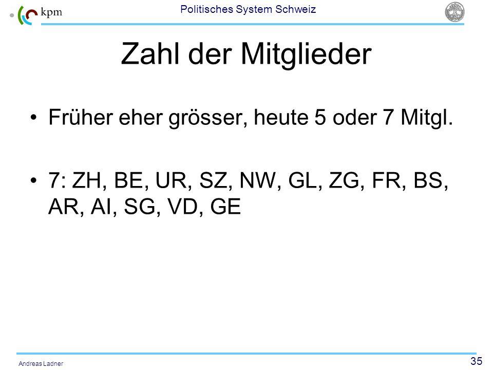 35 Politisches System Schweiz Andreas Ladner Zahl der Mitglieder Früher eher grösser, heute 5 oder 7 Mitgl. 7: ZH, BE, UR, SZ, NW, GL, ZG, FR, BS, AR,