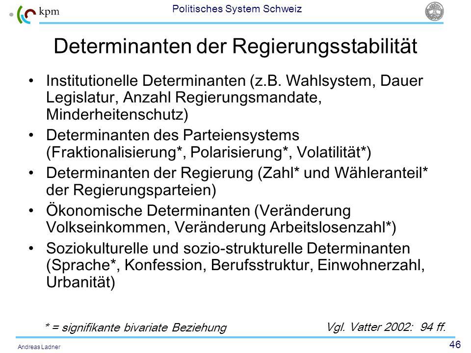 46 Politisches System Schweiz Andreas Ladner Determinanten der Regierungsstabilität Institutionelle Determinanten (z.B. Wahlsystem, Dauer Legislatur,