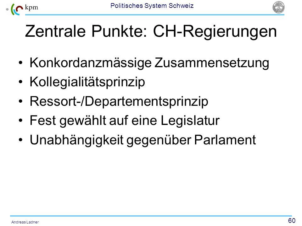 60 Politisches System Schweiz Andreas Ladner Zentrale Punkte: CH-Regierungen Konkordanzmässige Zusammensetzung Kollegialitätsprinzip Ressort-/Departementsprinzip Fest gewählt auf eine Legislatur Unabhängigkeit gegenüber Parlament