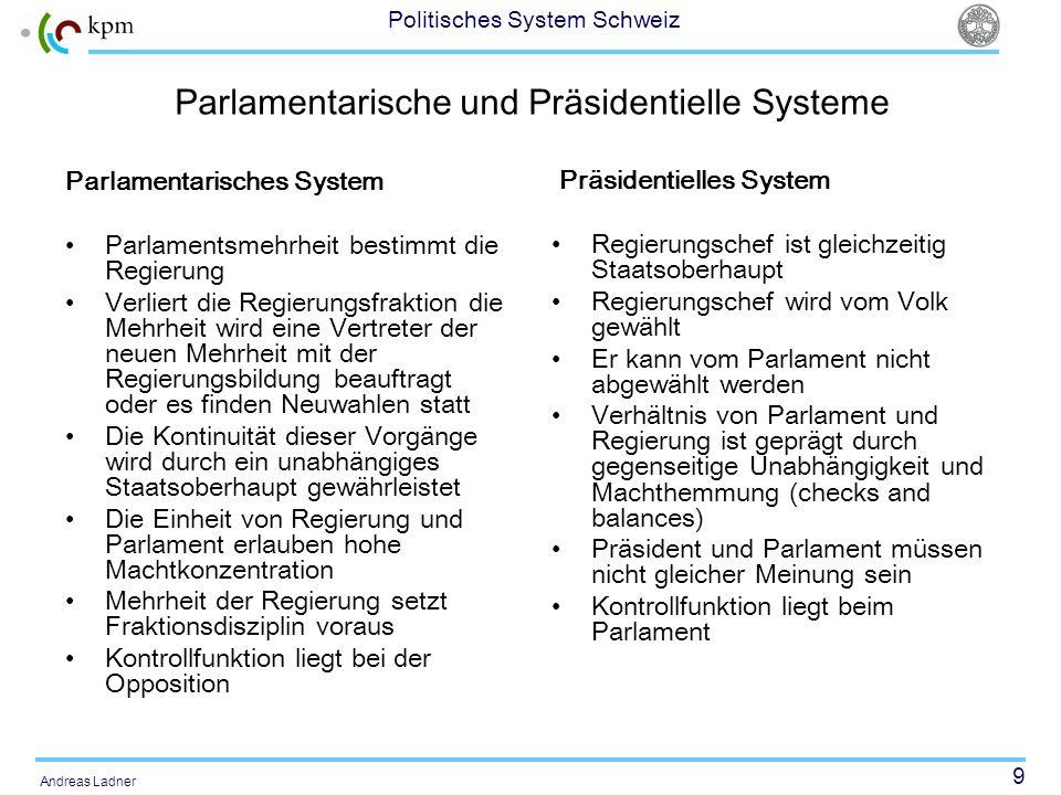 9 Politisches System Schweiz Andreas Ladner Parlamentarische und Präsidentielle Systeme Parlamentarisches System Parlamentsmehrheit bestimmt die Regie