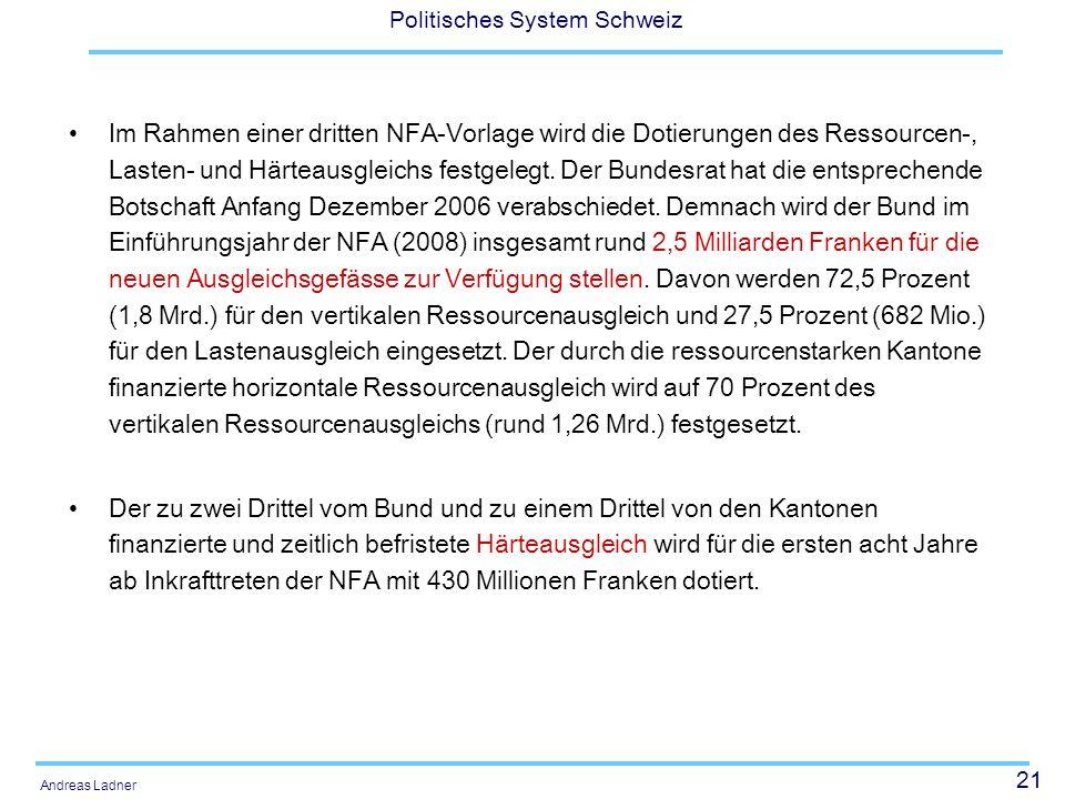21 Politisches System Schweiz Andreas Ladner Im Rahmen einer dritten NFA-Vorlage wird die Dotierungen des Ressourcen-, Lasten- und Härteausgleichs fes