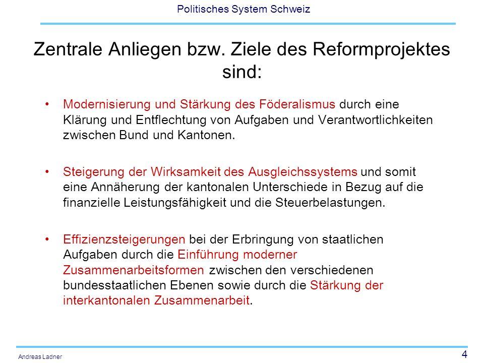 5 Politisches System Schweiz Andreas Ladner Die NFA stellt vier neue und innovative Instrumente bereit, um die gesteckten Ziele zu erreichen: Aufgaben- und Finanzierungsentflechtung Neue Zusammenarbeits- und Finanzierungsformen Interkantonale Zusammenarbeit mit Lastenausgleich Finanzausgleich im engeren Sinn