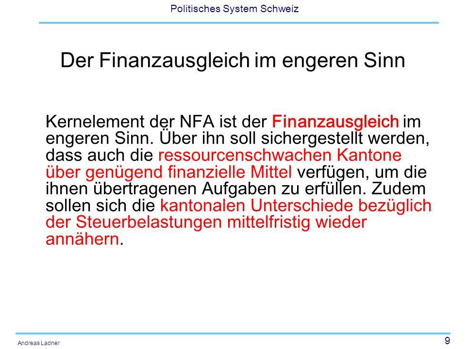 10 Politisches System Schweiz Andreas Ladner Der Finanzausgleich im engeren Sinn beinhaltet zwei Instrumente (Modellrechnung 2.4 Mia Franken) –Der Ressourcenausgleich basiert auf einem neuen Index zur Erfassung der kantonalen finanziellen Ressourcen- bzw.