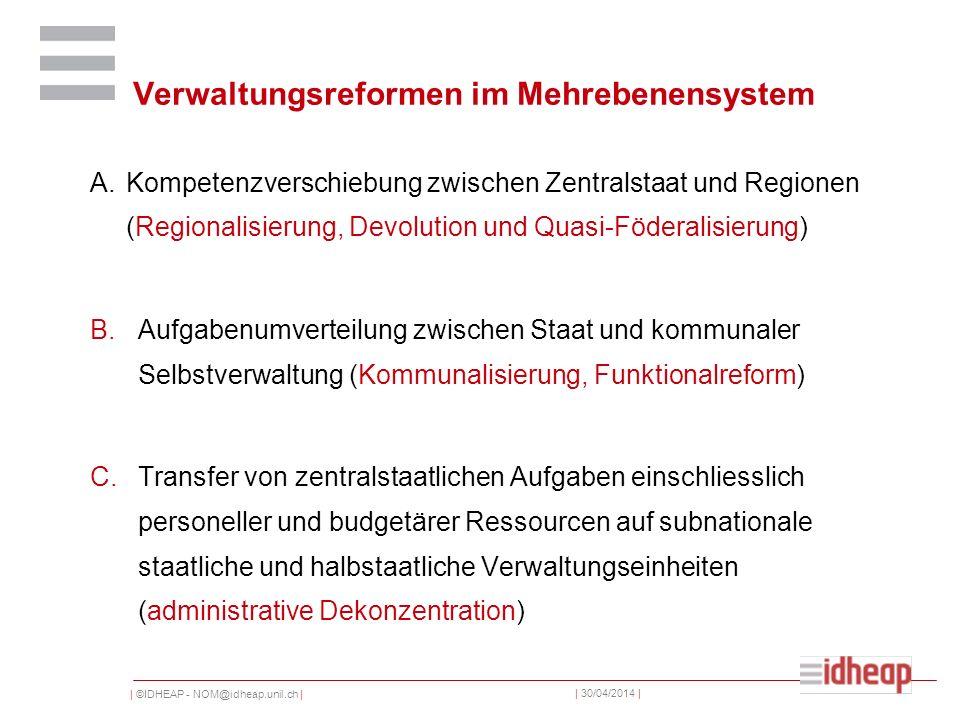 | ©IDHEAP - NOM@idheap.unil.ch | | 30/04/2014 | Verwaltungsreformen im Mehrebenensystem A.Kompetenzverschiebung zwischen Zentralstaat und Regionen (Re