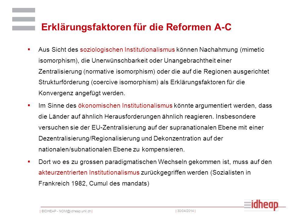 | ©IDHEAP - NOM@idheap.unil.ch | | 30/04/2014 | Erklärungsfaktoren für die Reformen A-C Aus Sicht des soziologischen Institutionalismus können Nachahmung (mimetic isomorphism), die Unerwünschbarkeit oder Unangebrachtheit einer Zentralisierung (normative isomorphism) oder die auf die Regionen ausgerichtet Strukturförderung (coercive isomorphism) als Erklärungsfaktoren für die Konvergenz angefügt werden.