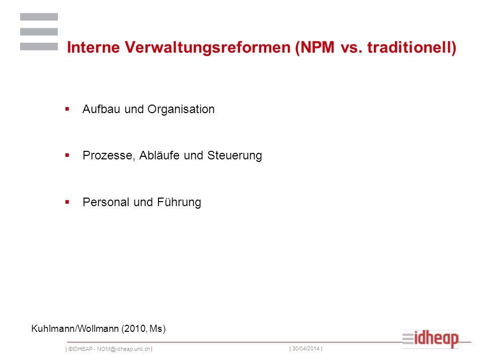 | ©IDHEAP - NOM@idheap.unil.ch | | 30/04/2014 | Interne Verwaltungsreformen (NPM vs. traditionell) Aufbau und Organisation Prozesse, Abläufe und Steue