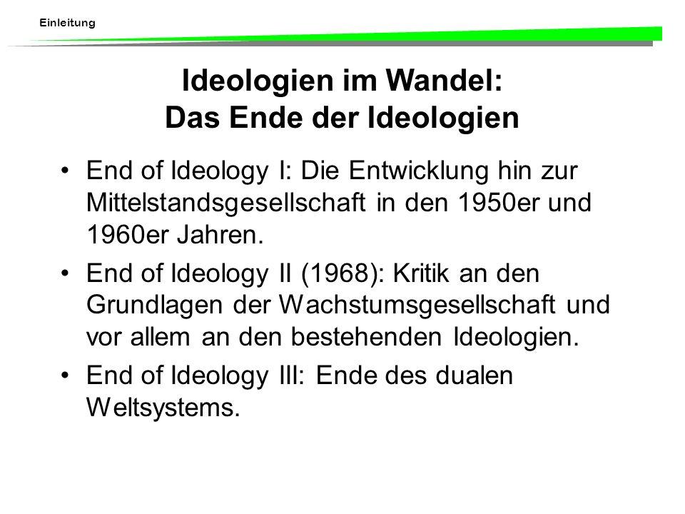 Einleitung Ideologien im Wandel: Das Ende der Ideologien End of Ideology I: Die Entwicklung hin zur Mittelstandsgesellschaft in den 1950er und 1960er Jahren.