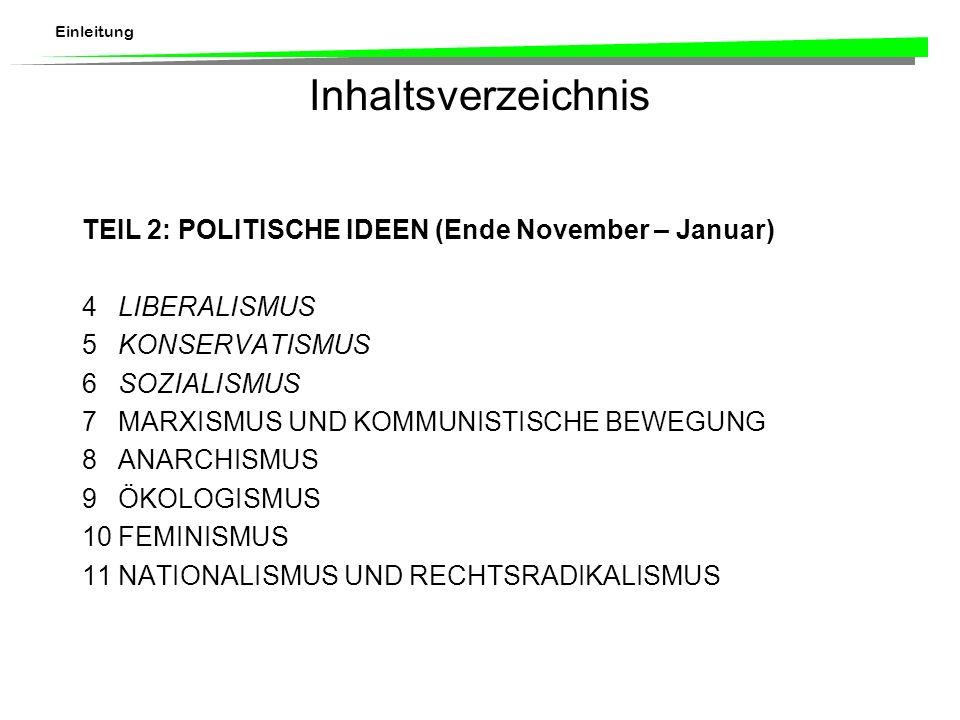 Einleitung Inhaltsverzeichnis TEIL 2:POLITISCHE IDEEN (Ende November – Januar) 4LIBERALISMUS 5KONSERVATISMUS 6SOZIALISMUS 7MARXISMUS UND KOMMUNISTISCHE BEWEGUNG 8ANARCHISMUS 9ÖKOLOGISMUS 10FEMINISMUS 11NATIONALISMUS UND RECHTSRADIKALISMUS