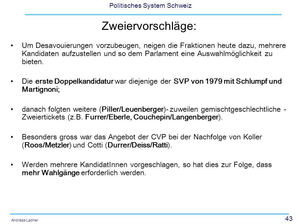 43 Politisches System Schweiz Andreas Ladner Zweiervorschläge: Um Desavouierungen vorzubeugen, neigen die Fraktionen heute dazu, mehrere Kandidaten aufzustellen und so dem Parlament eine Auswahlmöglichkeit zu bieten.