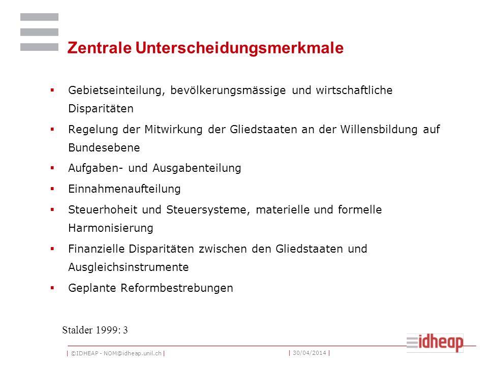 | ©IDHEAP - NOM@idheap.unil.ch | | 30/04/2014 | Zentrale Unterscheidungsmerkmale Gebietseinteilung, bevölkerungsmässige und wirtschaftliche Disparität