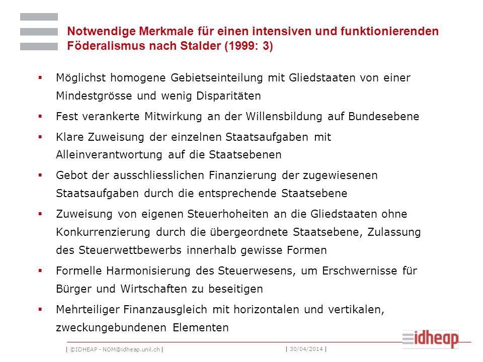 | ©IDHEAP - NOM@idheap.unil.ch | | 30/04/2014 | Notwendige Merkmale für einen intensiven und funktionierenden Föderalismus nach Stalder (1999: 3) Mögl