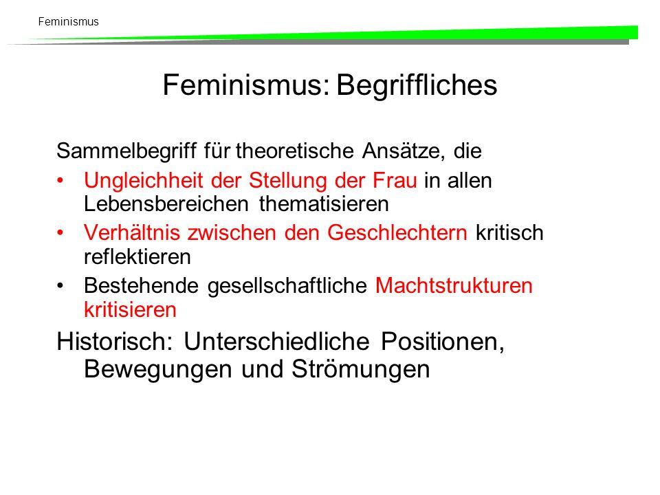 Feminismus Ideologische Grundlagen Geschlechterrollen sind kulturspezifisch bedingt Vorstellung der natürlichen Ungleichheit dominiert Gesellschaft nach wie vor Nicht-Thematisierung der Frauenfrage –Umgangssprache: Frauen sind mitgemeint.