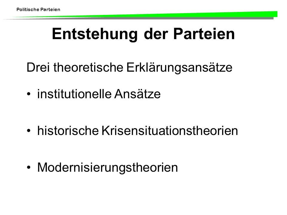 Politische Parteien Entstehung der Parteien Drei theoretische Erklärungsansätze institutionelle Ansätze historische Krisensituationstheorien Modernisi