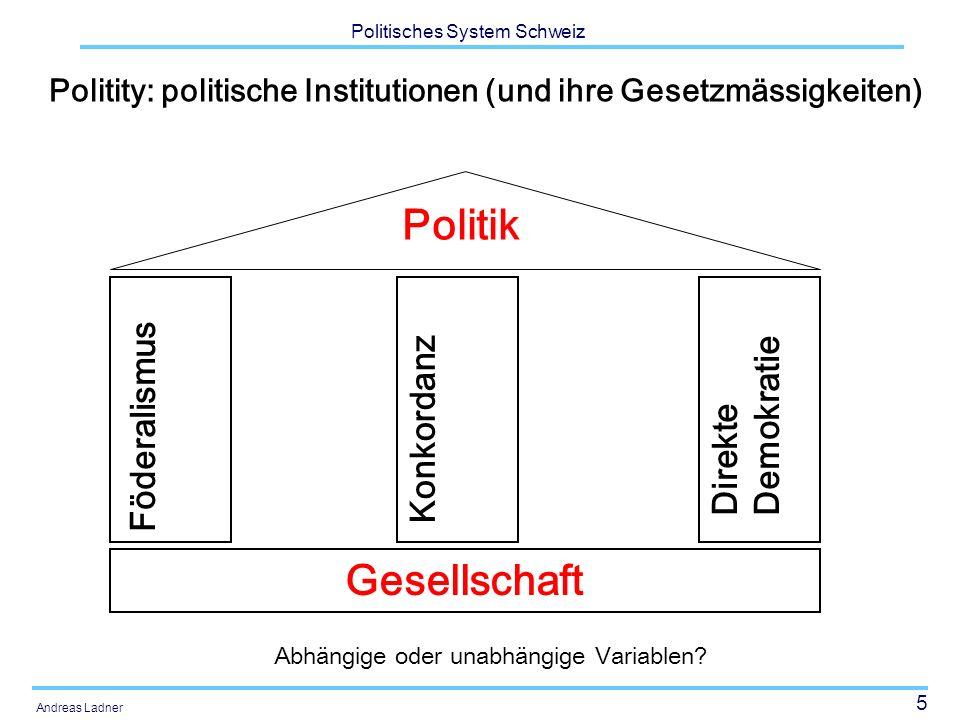 5 Politisches System Schweiz Andreas Ladner Politity: politische Institutionen (und ihre Gesetzmässigkeiten) Gesellschaft Föderalismus Konkordanz Direkte Demokratie Politik Abhängige oder unabhängige Variablen?