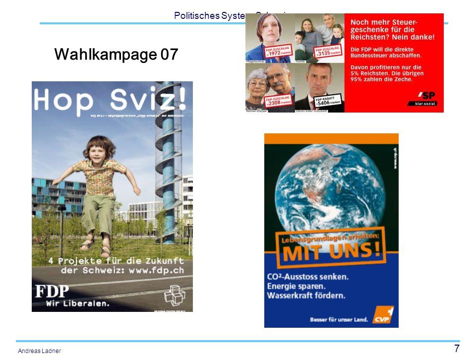 28 Politisches System Schweiz Andreas Ladner Strukturelle Merkmale Politische Feingliederung Sprachregionen Konfessionen Ausländeranteil Arbeitslosigkeit Bruttosozialprodukt Staatsquote, Steuerbelastung