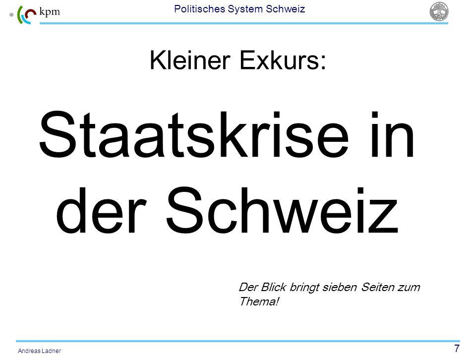 38 Politisches System Schweiz Andreas Ladner Erfolgsaussichten Weniger als 10 % der Volksinitiativen waren direkt erfolgreich Wird eine Referendum ergriffen, so haben die Gegner eines neuen Gesetzes 50% Erfolgschancen Der Anteil der Referenden an der Gesamtzahl der Parlamentsvorlagen liegt mit rund 7 % sehr tief.
